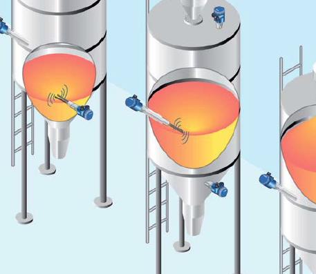 Illustration of liquid measurement in silos