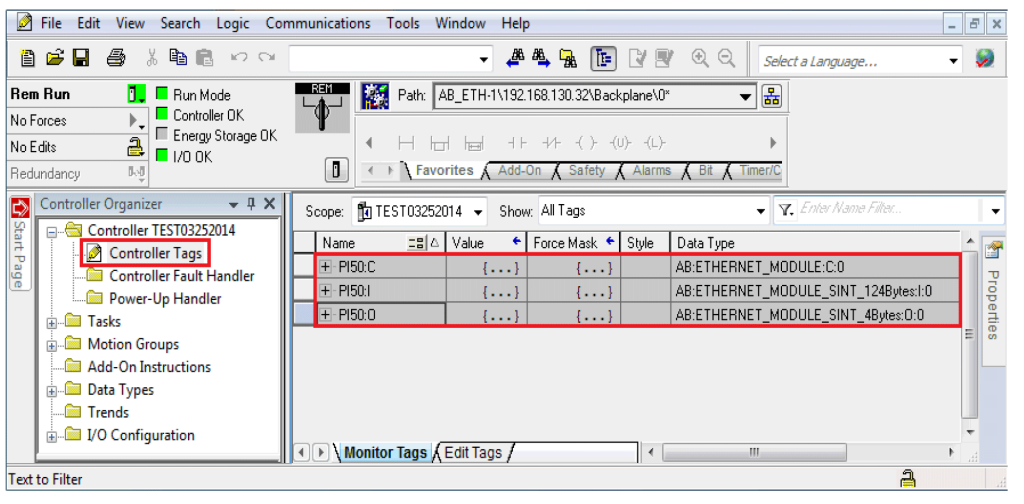 Screenshot of Controller Tags in RSLogix 5000