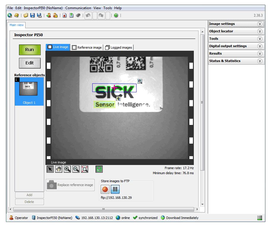 Screenshot of LIVE image of the sensor