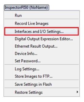 Screenshot of Interfaces and I/O Settings