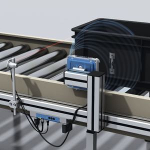 Sensor reads RFID tag on box on conveyor belt
