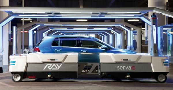 "Serva Transport Systems AGV parking robot ""Ray"""