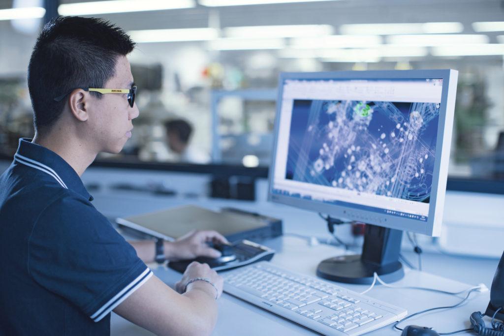 engineer using computer